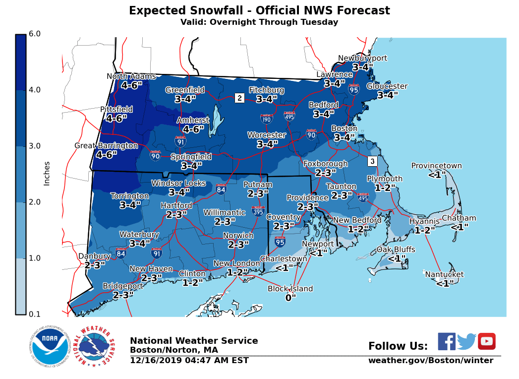 Snow Maps How Much Accumulation Is Predicted In Mass On Dec 17
