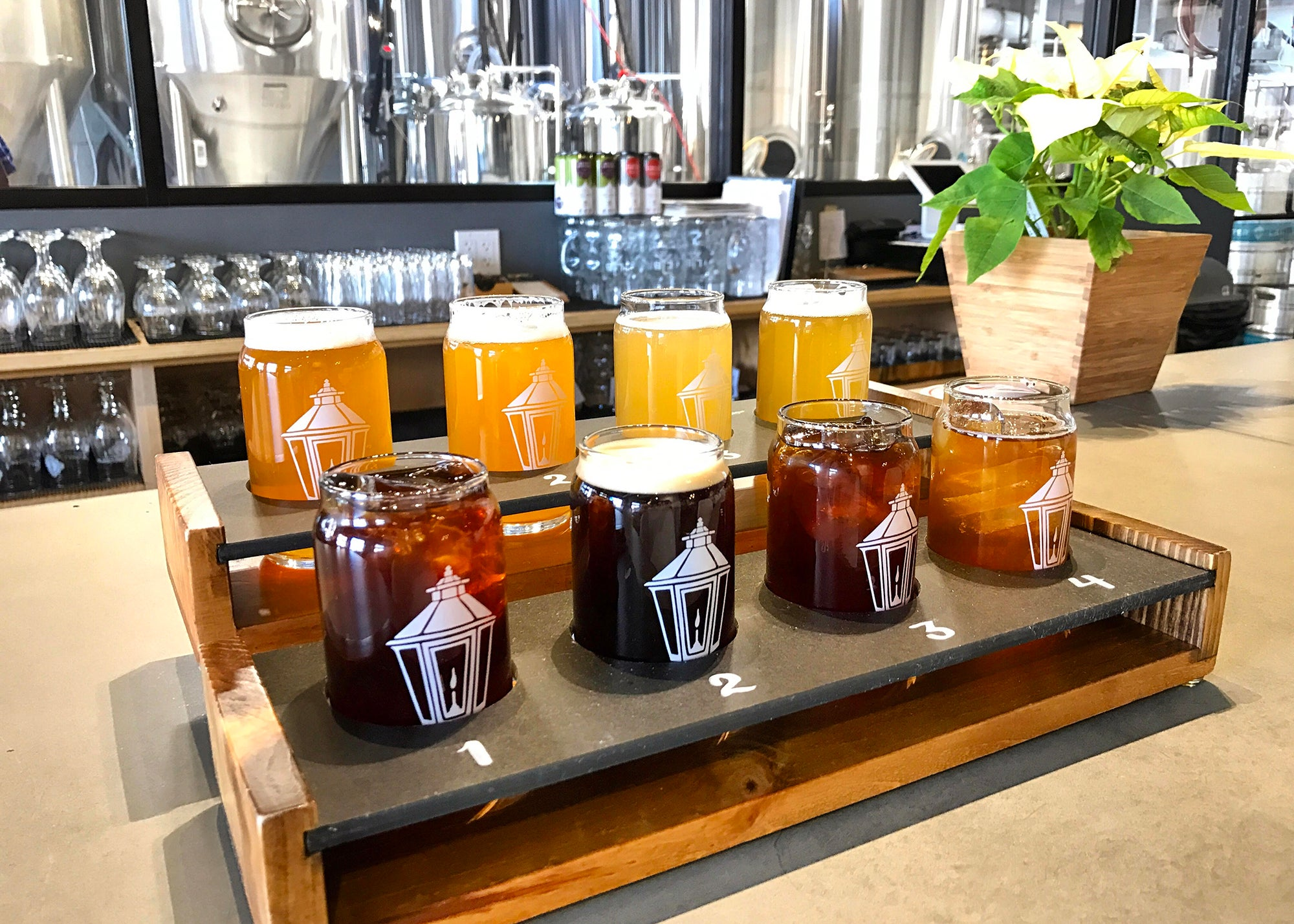 A flight of beer and coffee at Lamplighter Brewing Co.