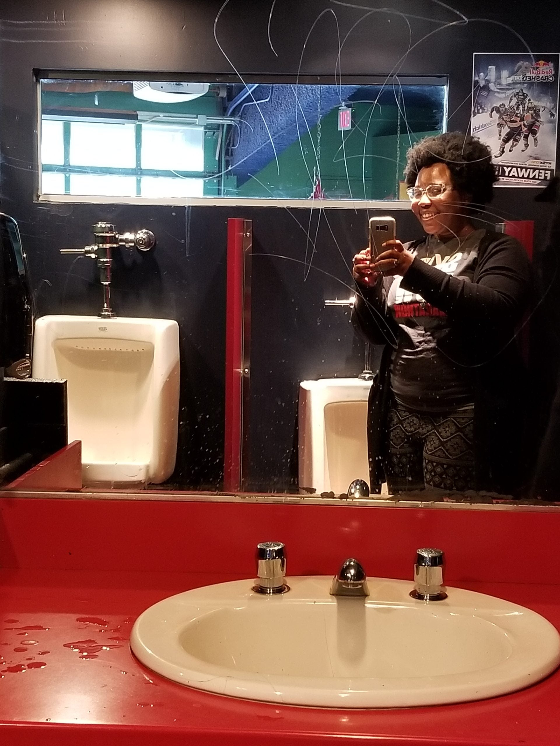 Bleacher Bar men's bathroom selfie