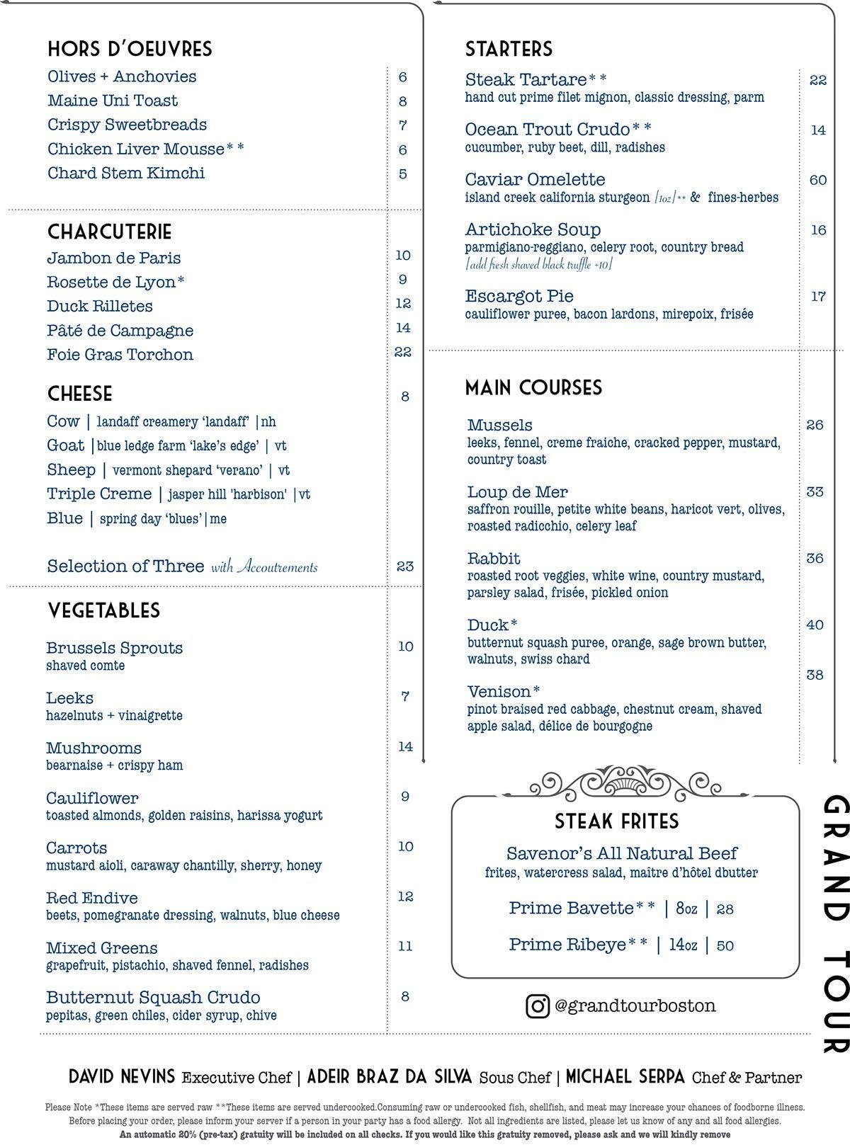 Food menu at Grand Tour