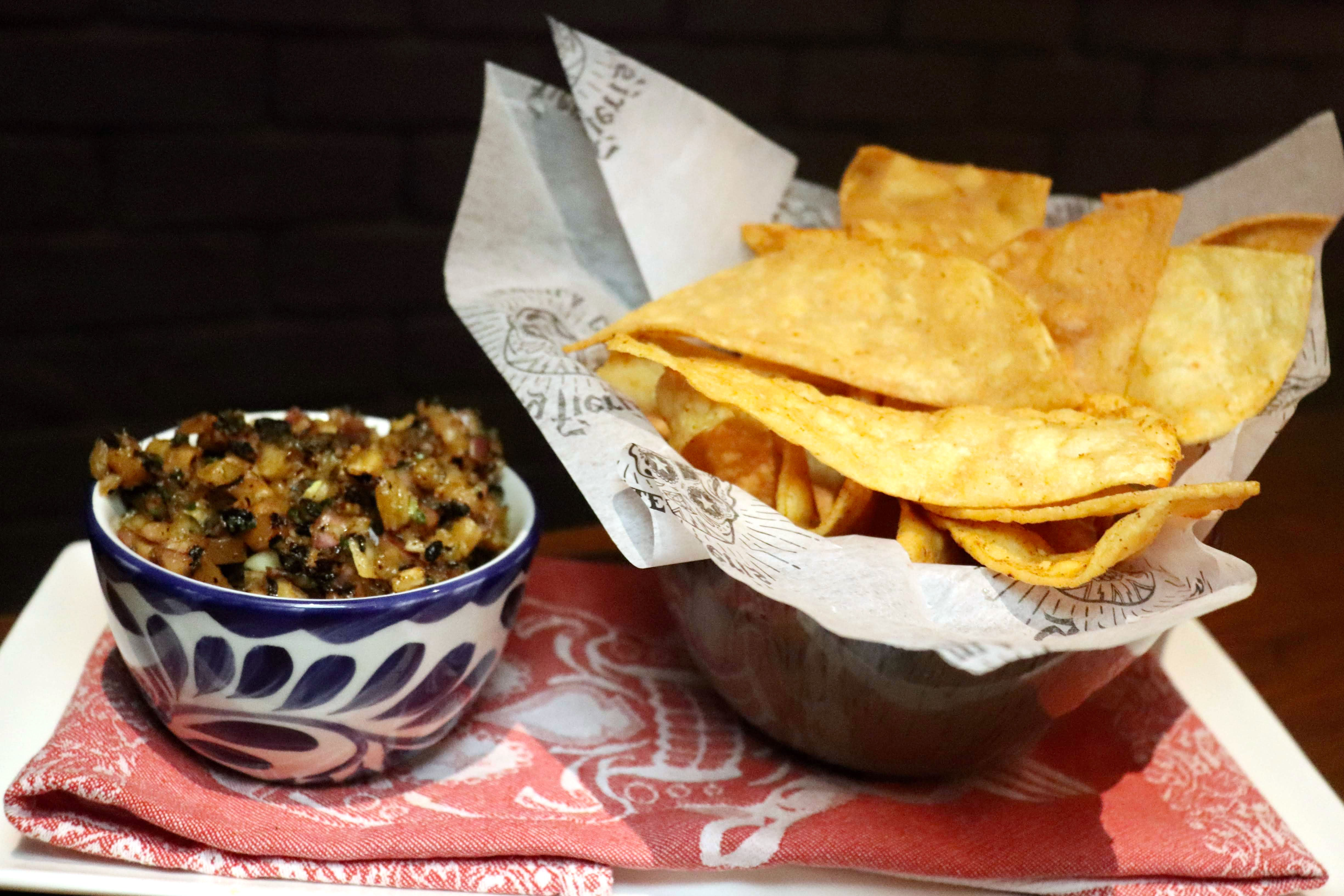 Pineapple serrano salsa with chips