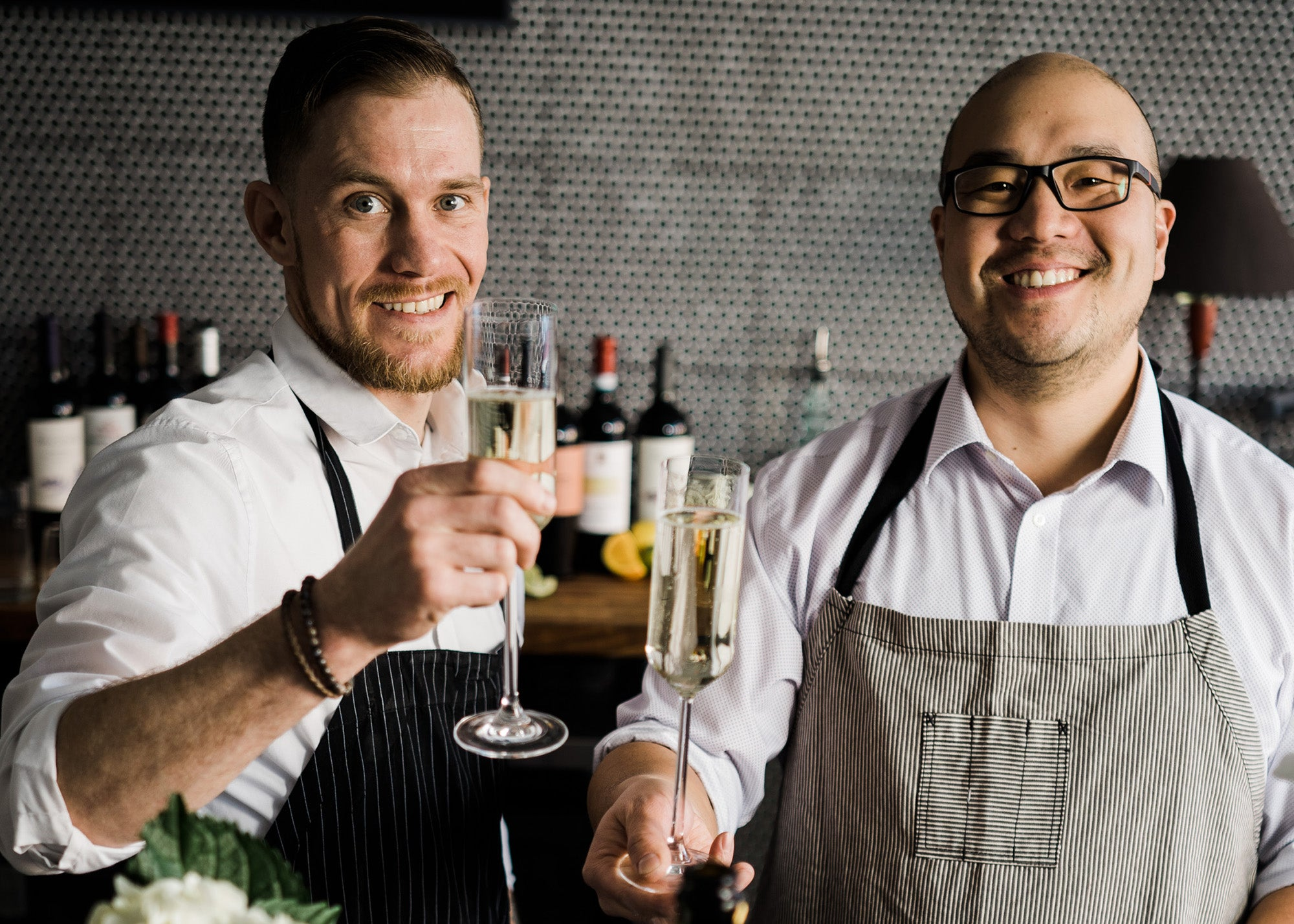 Corey Fletcher and Andrew Li at Flora's Wine Bar