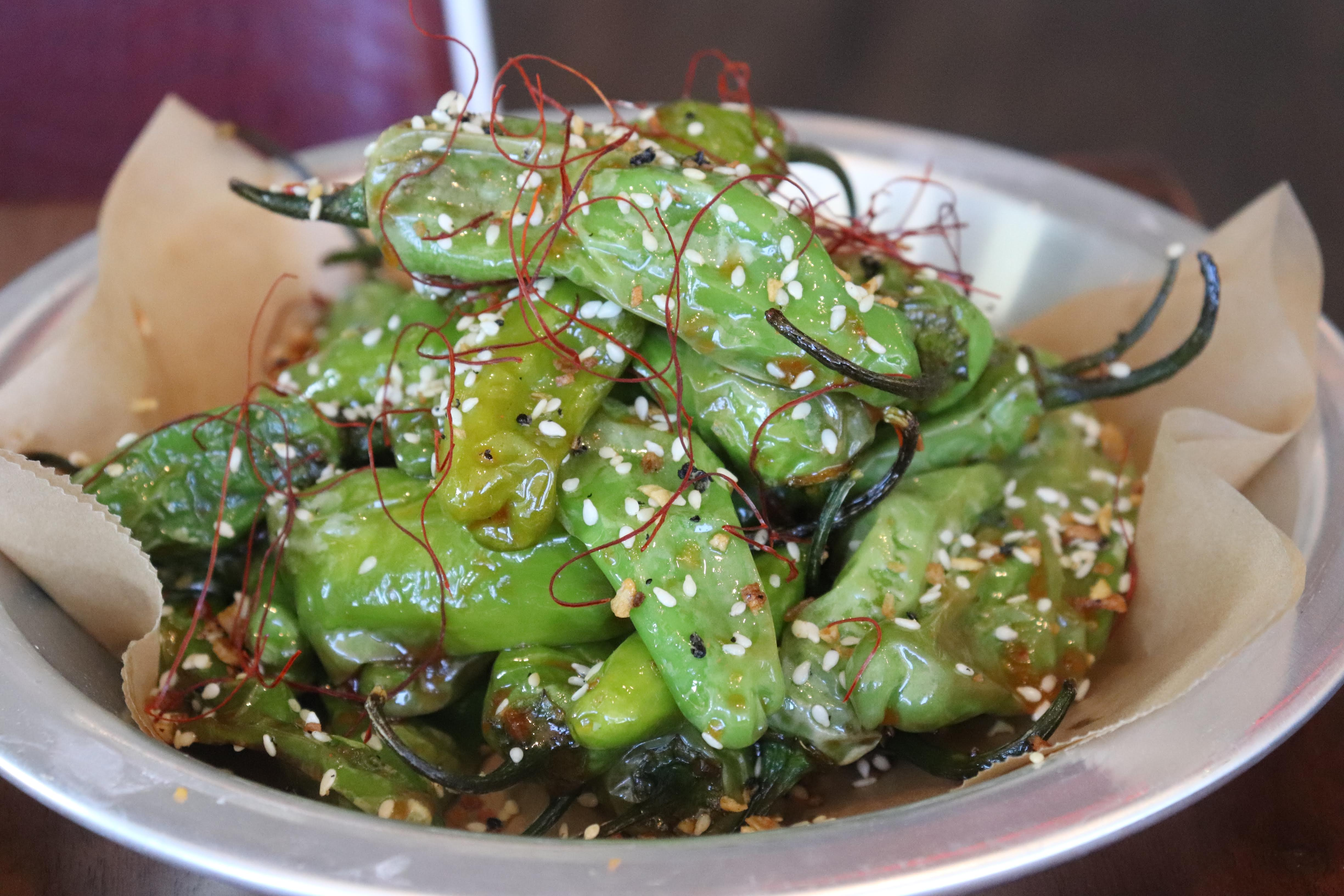 sweet and sour blistered shishitos