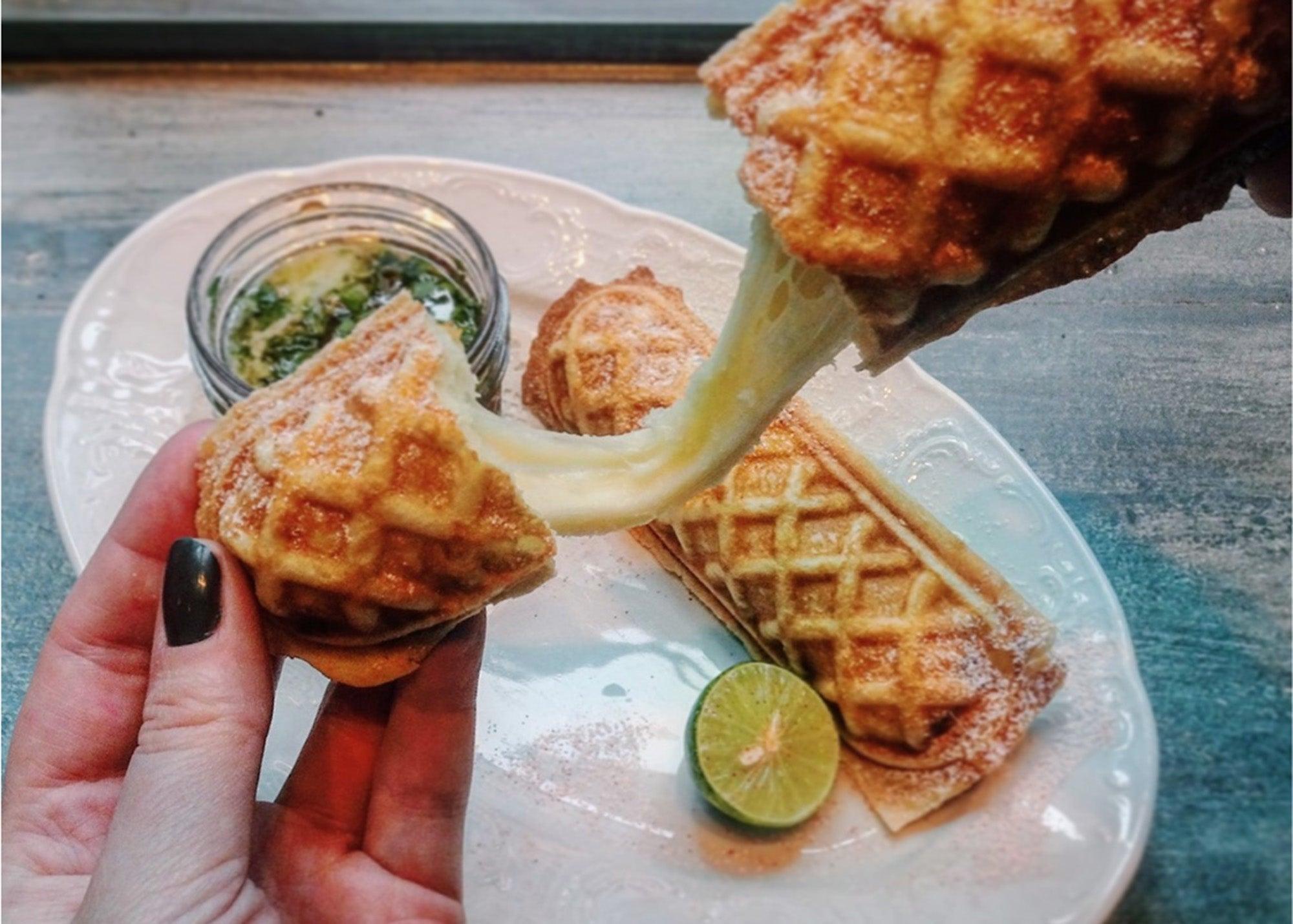 Mozzarella waffle sticks at Mariel