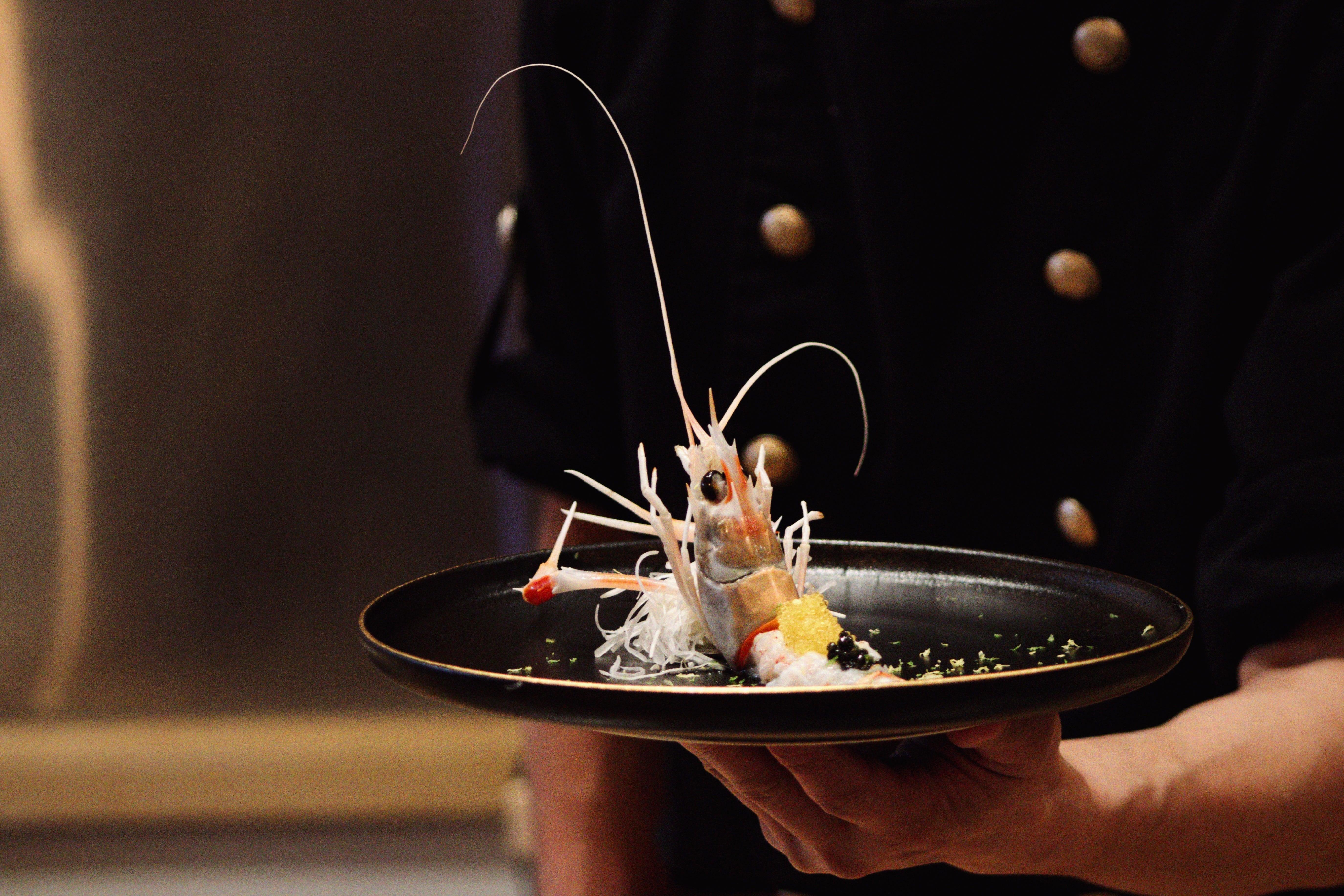Langoustine yuzu with tobiko and caviar
