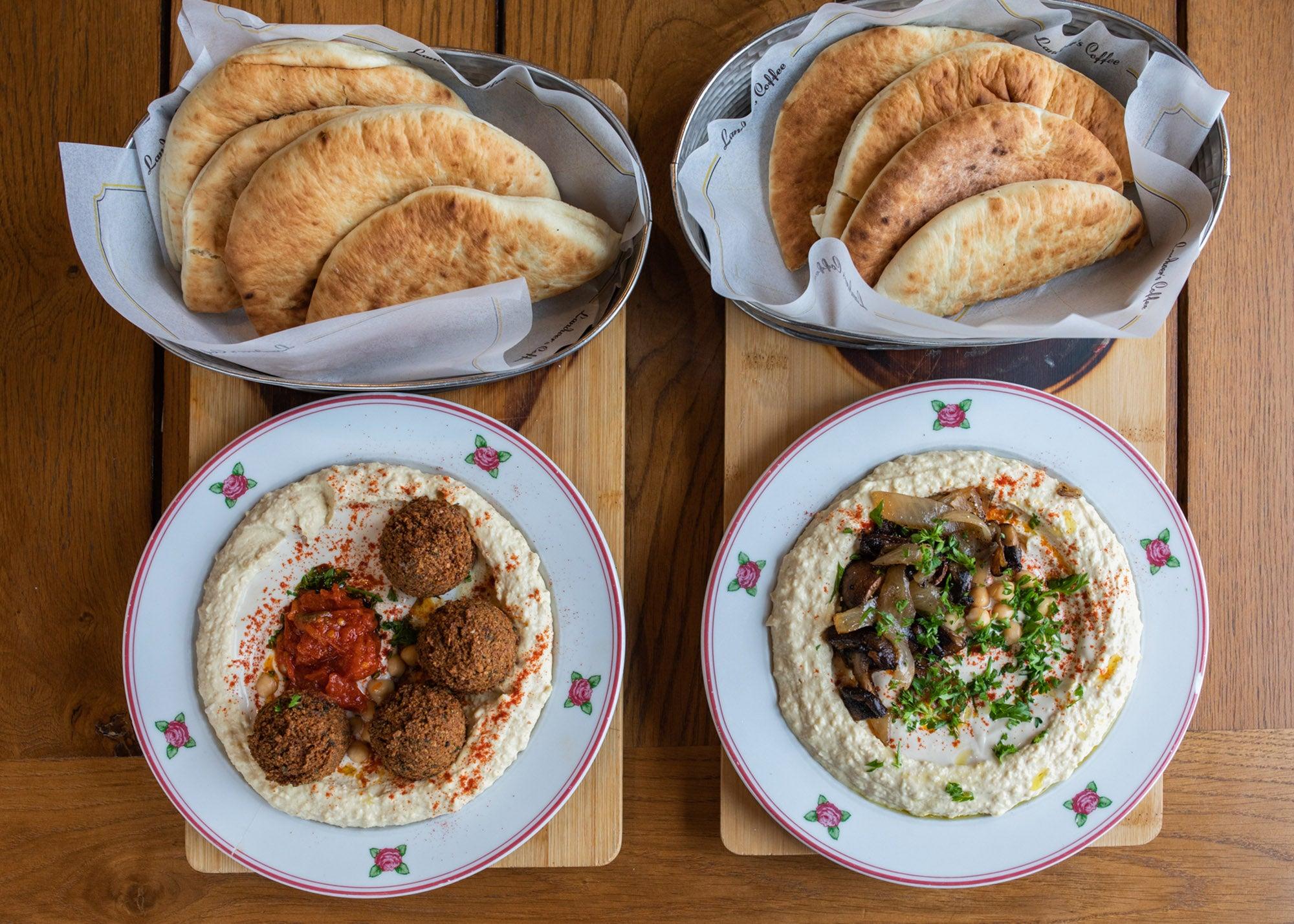 Souk and mushroom hummus bowls at Cafe Landwer
