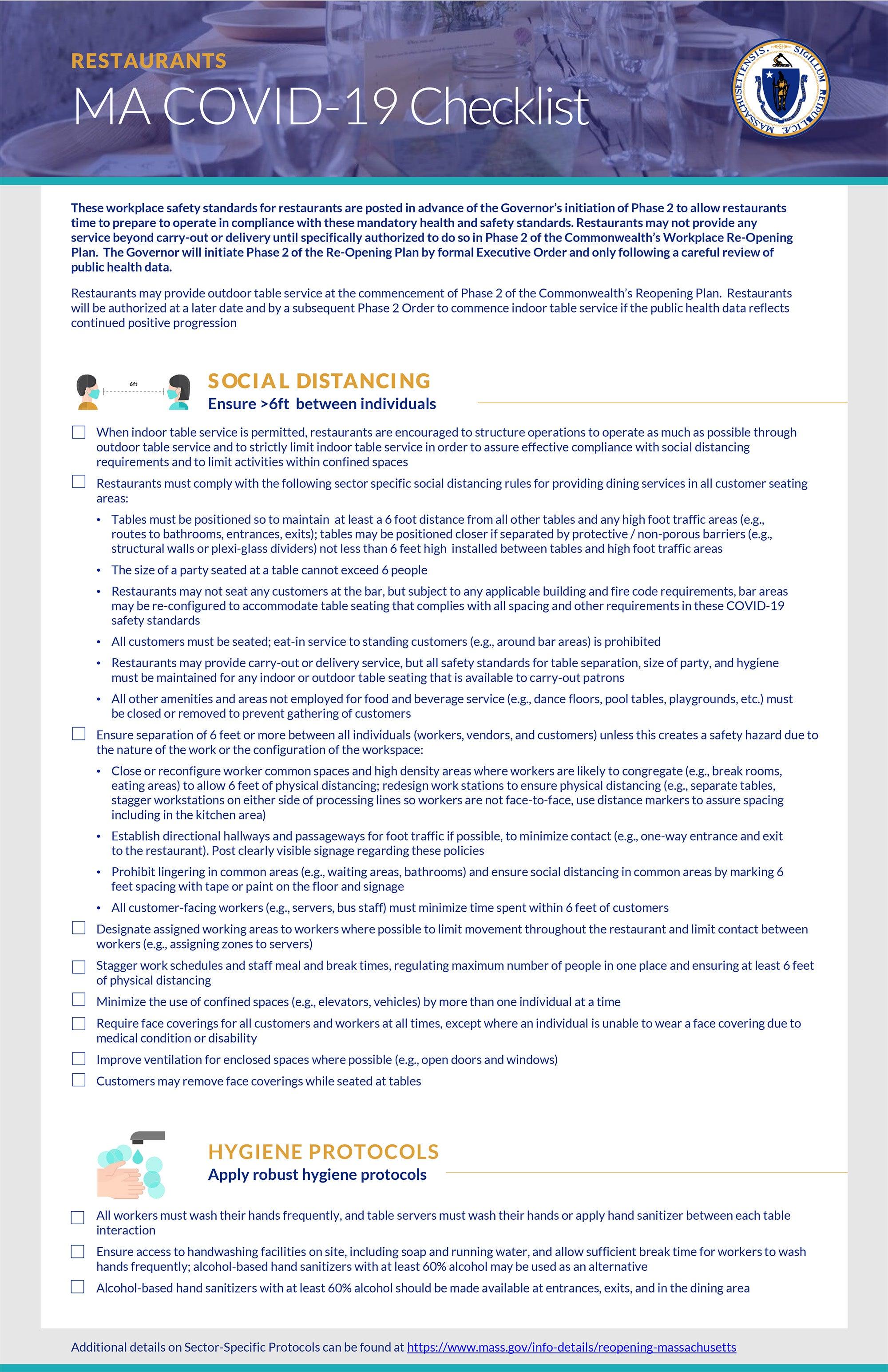 MA COVID-19 checklist for restaurants
