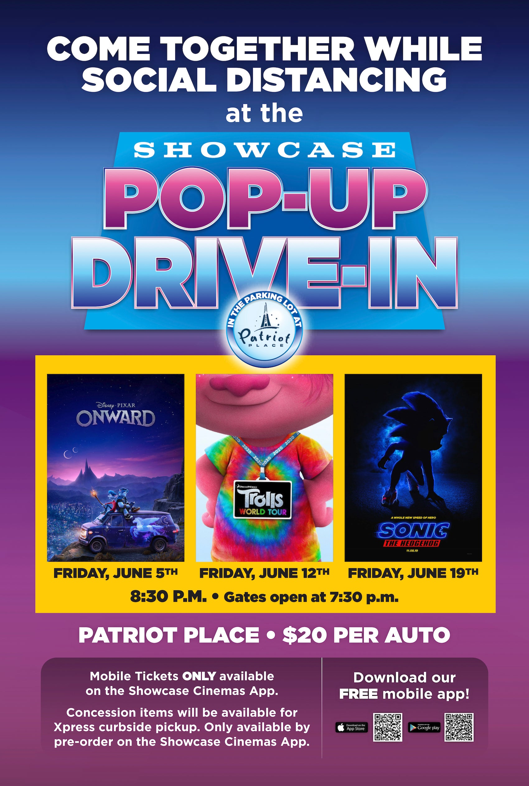 Showcase Cinemas drive-in movie theater poster.