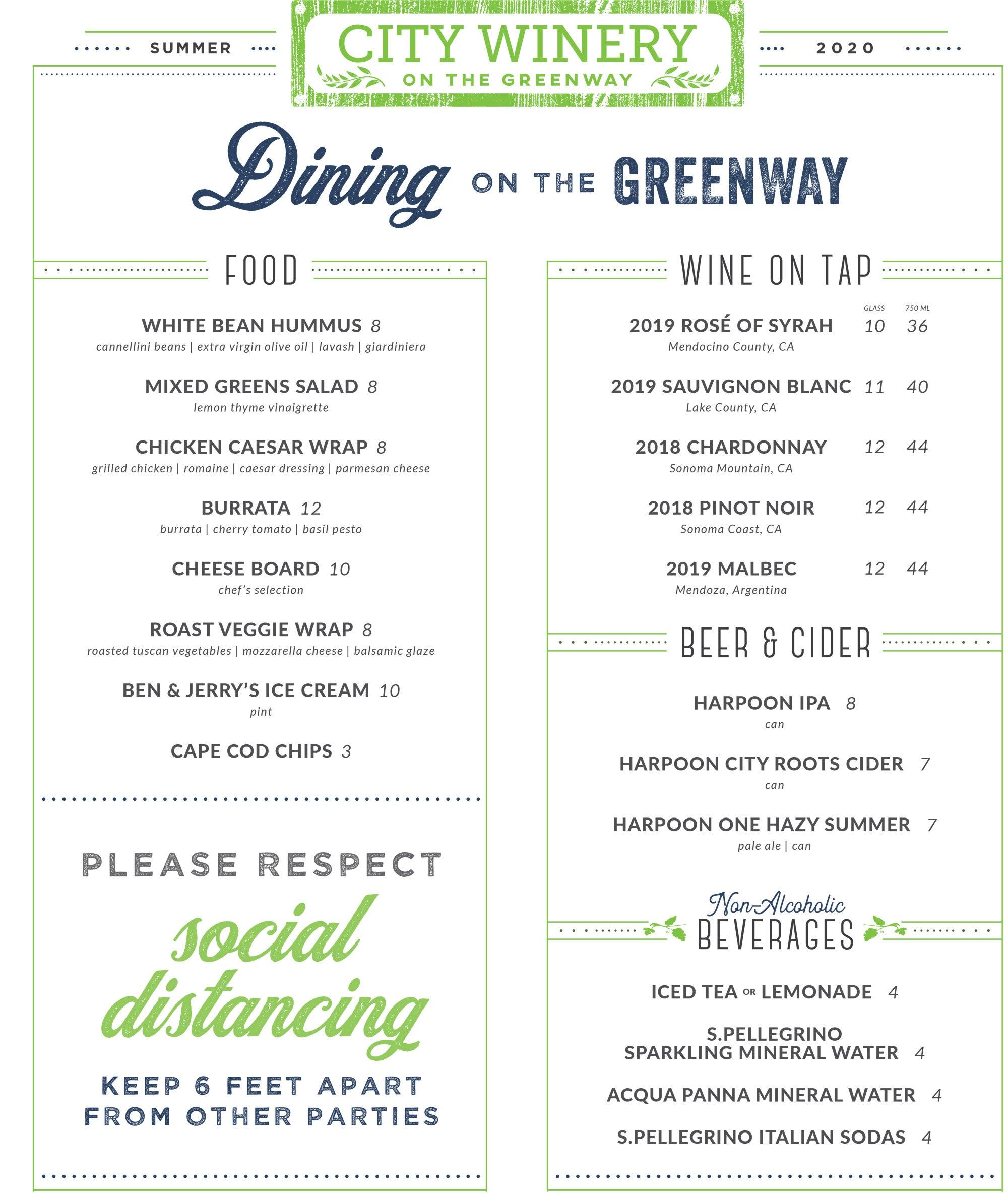 City Winery on The Greenway menu