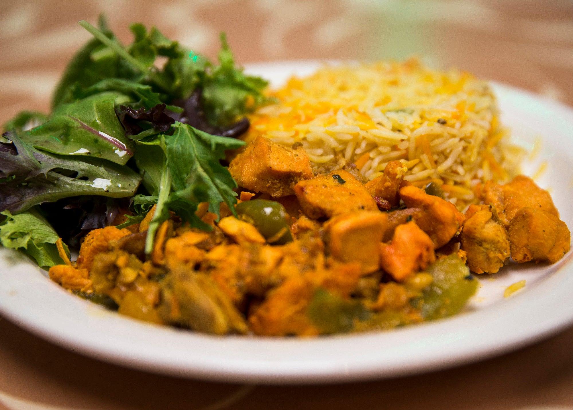 Chicken biryani is pictured at Tawakal Halal Cafe