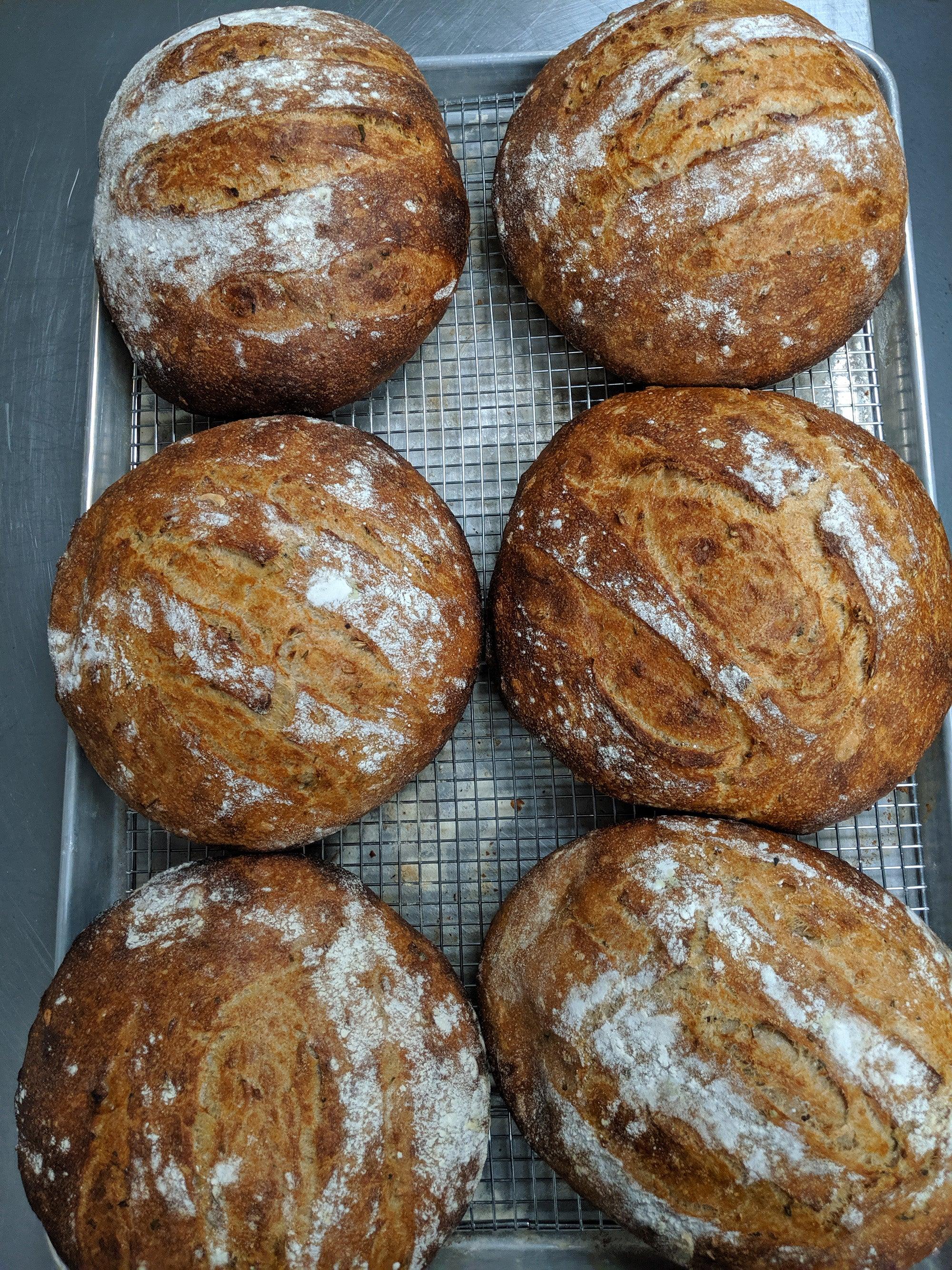 Sourdough loaves at Brato Brewhouse + Kitchen