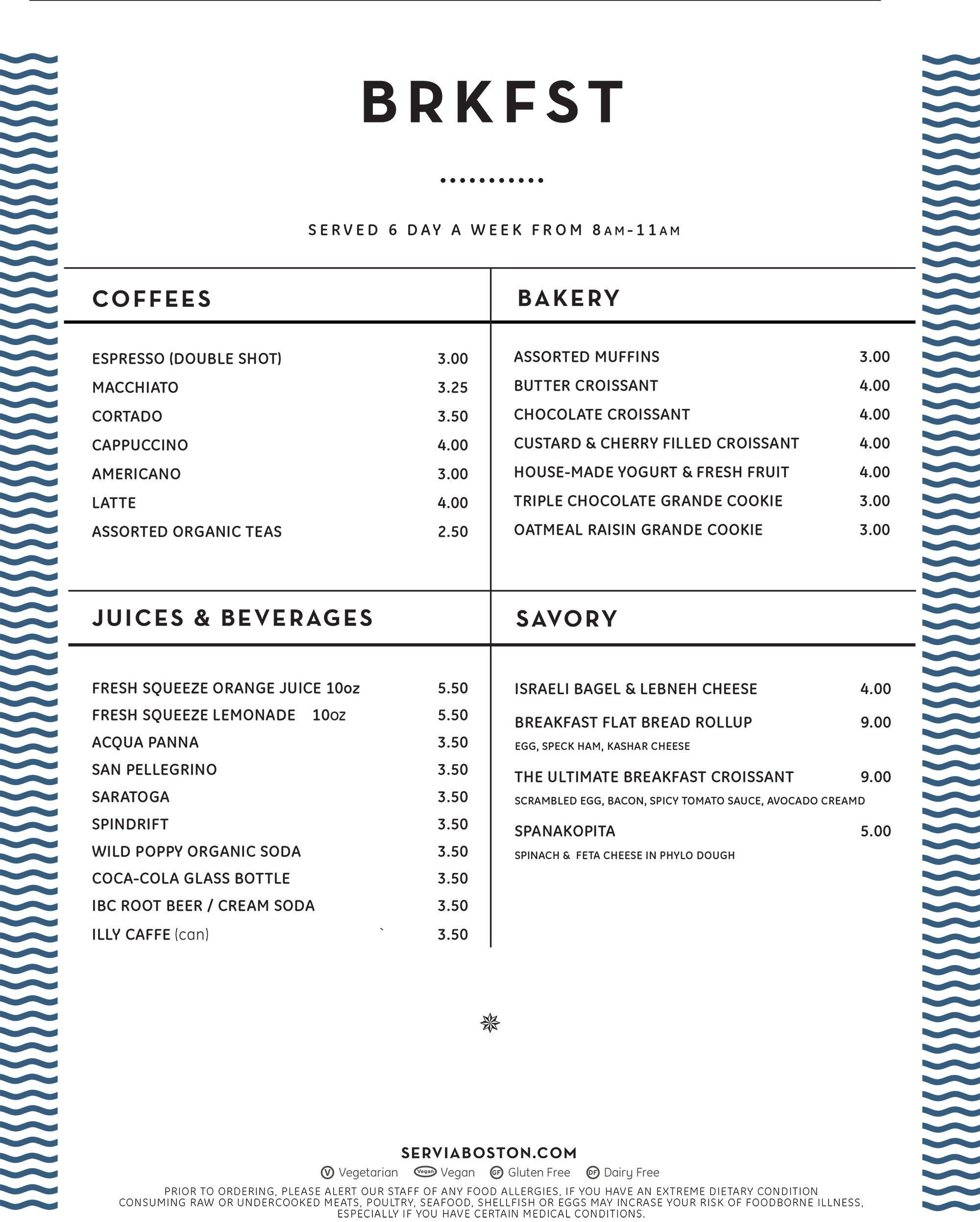 Breakfast menu at Servia