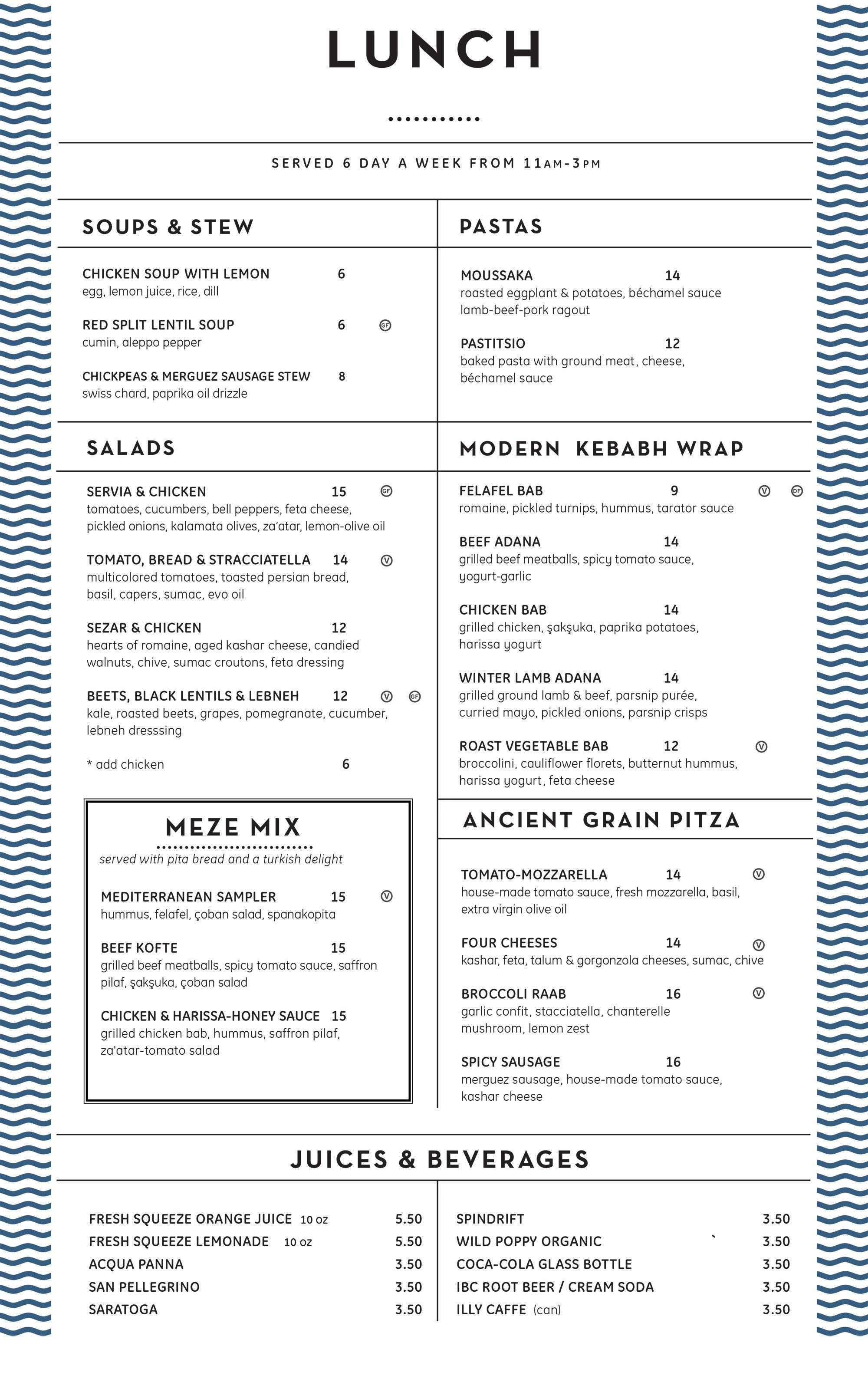 Lunch menu at Servia
