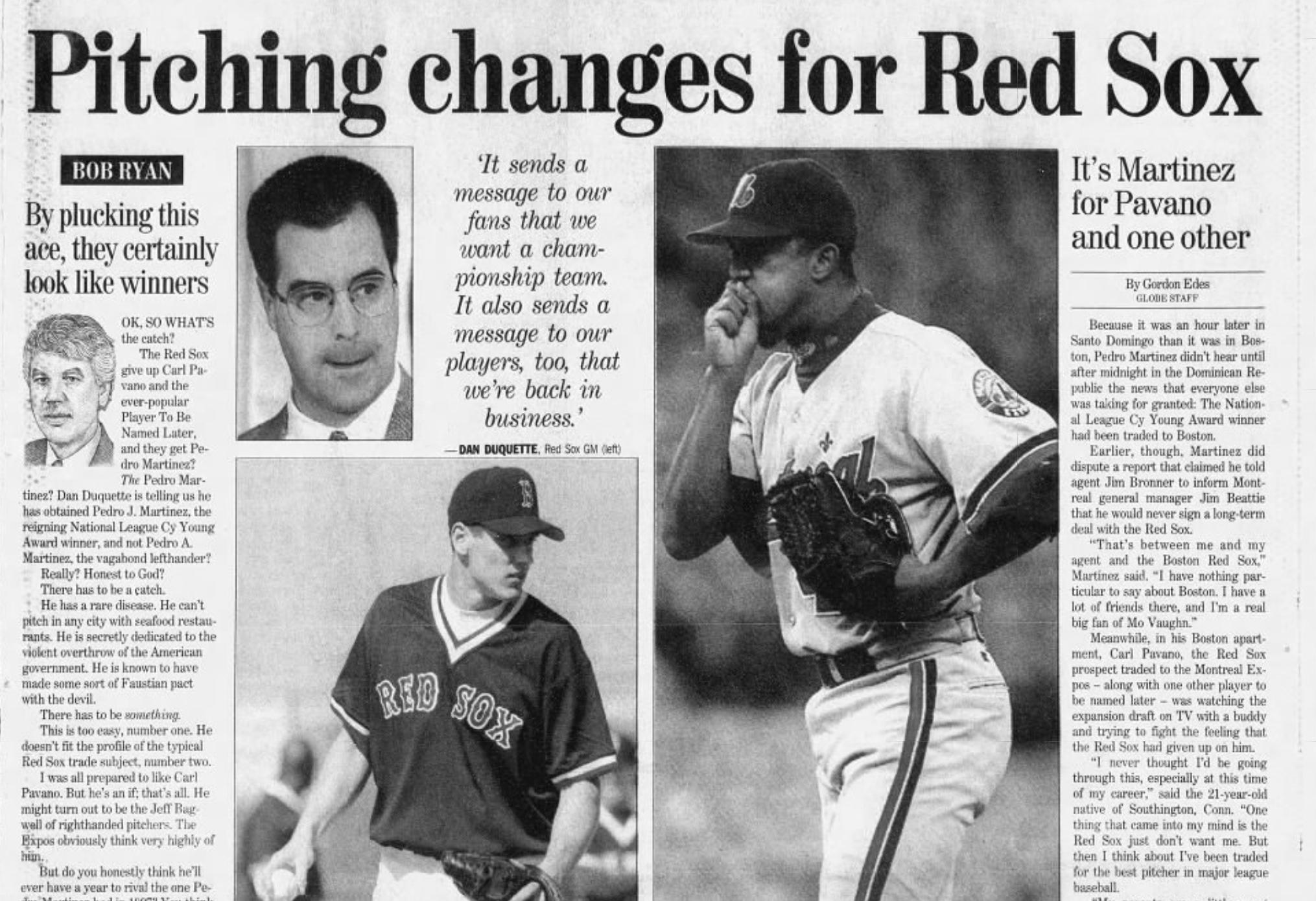 Pedro Martinez trade Boston Globe