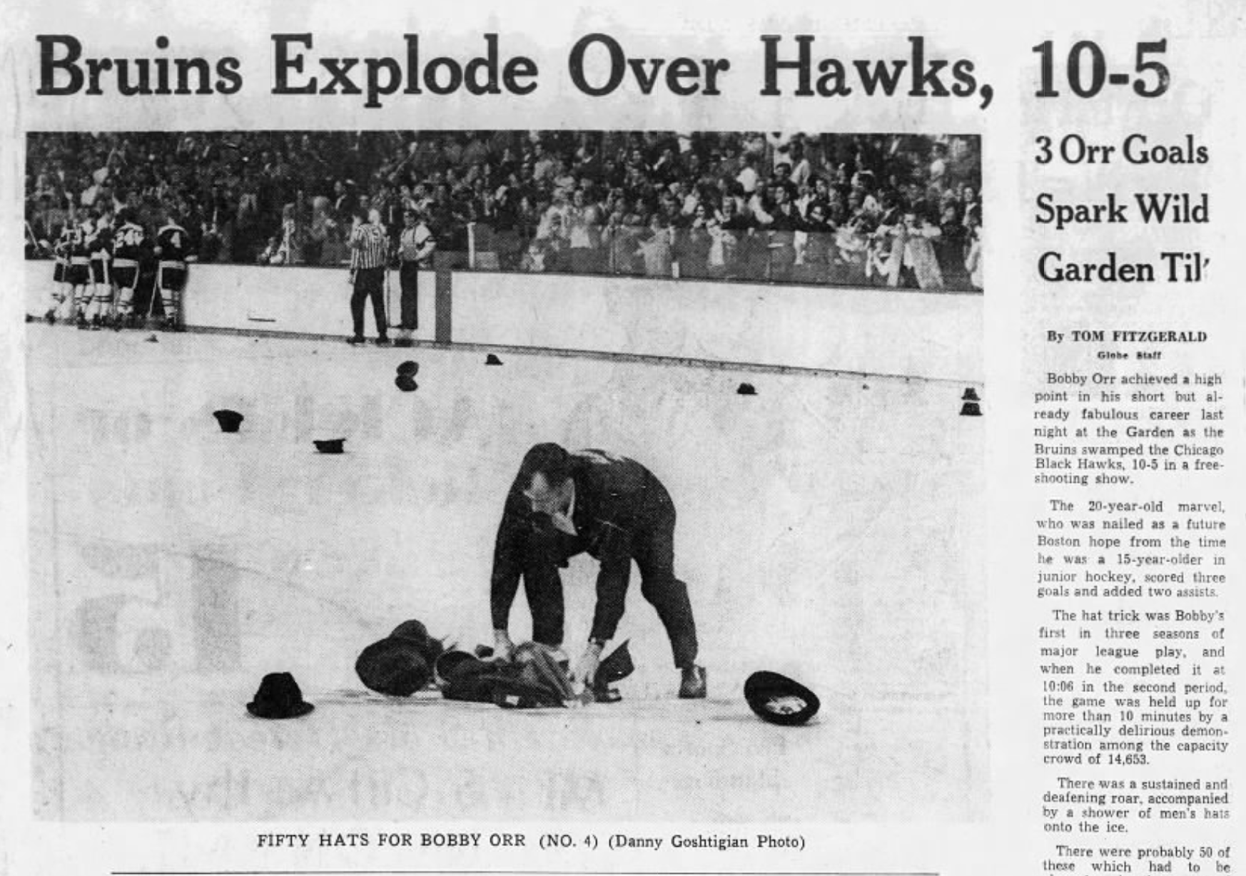 Bobby Orr hat trick Bruins 1968