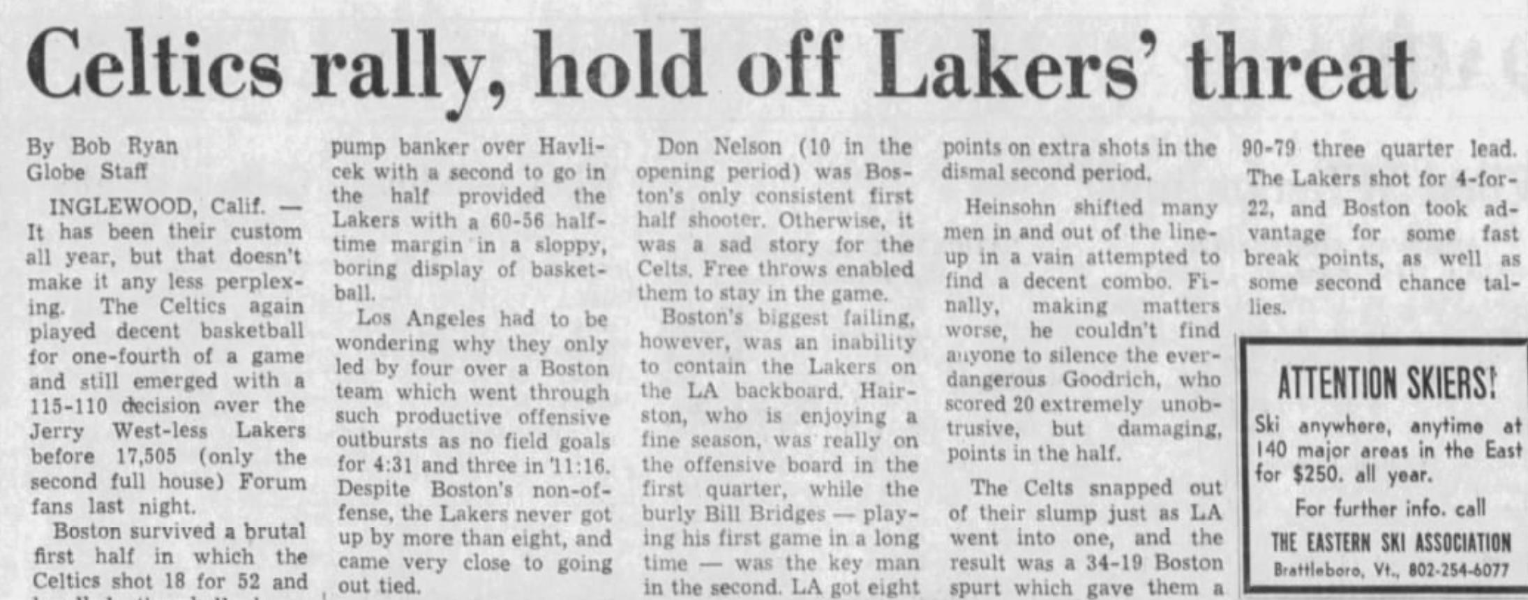 Celtics Lakers 1973