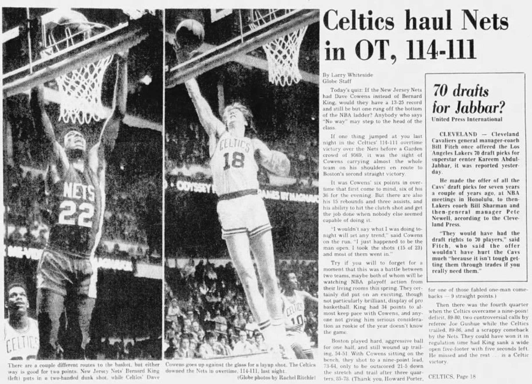 Celtics Cowens
