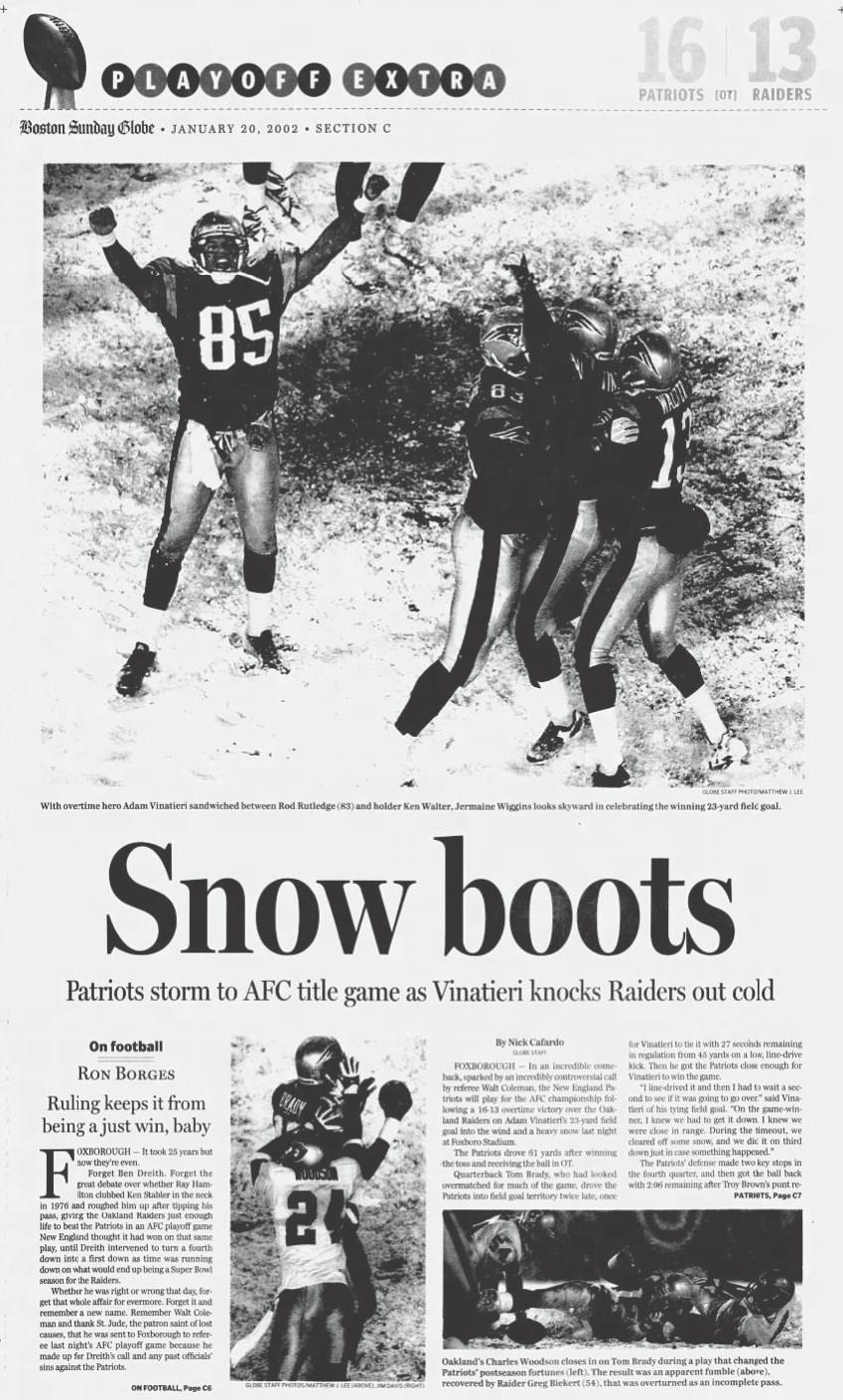 Patriots Snow Game Boston Globe