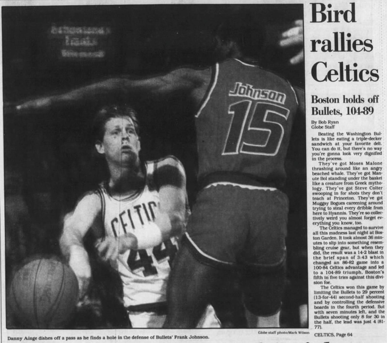 Celtics Bullets Boston Globe 1988