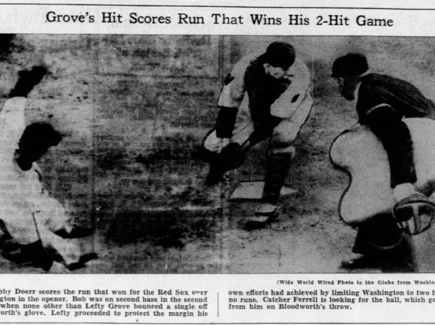How the winning run scored in Boston's 1940 Opening Day victory at Washington.