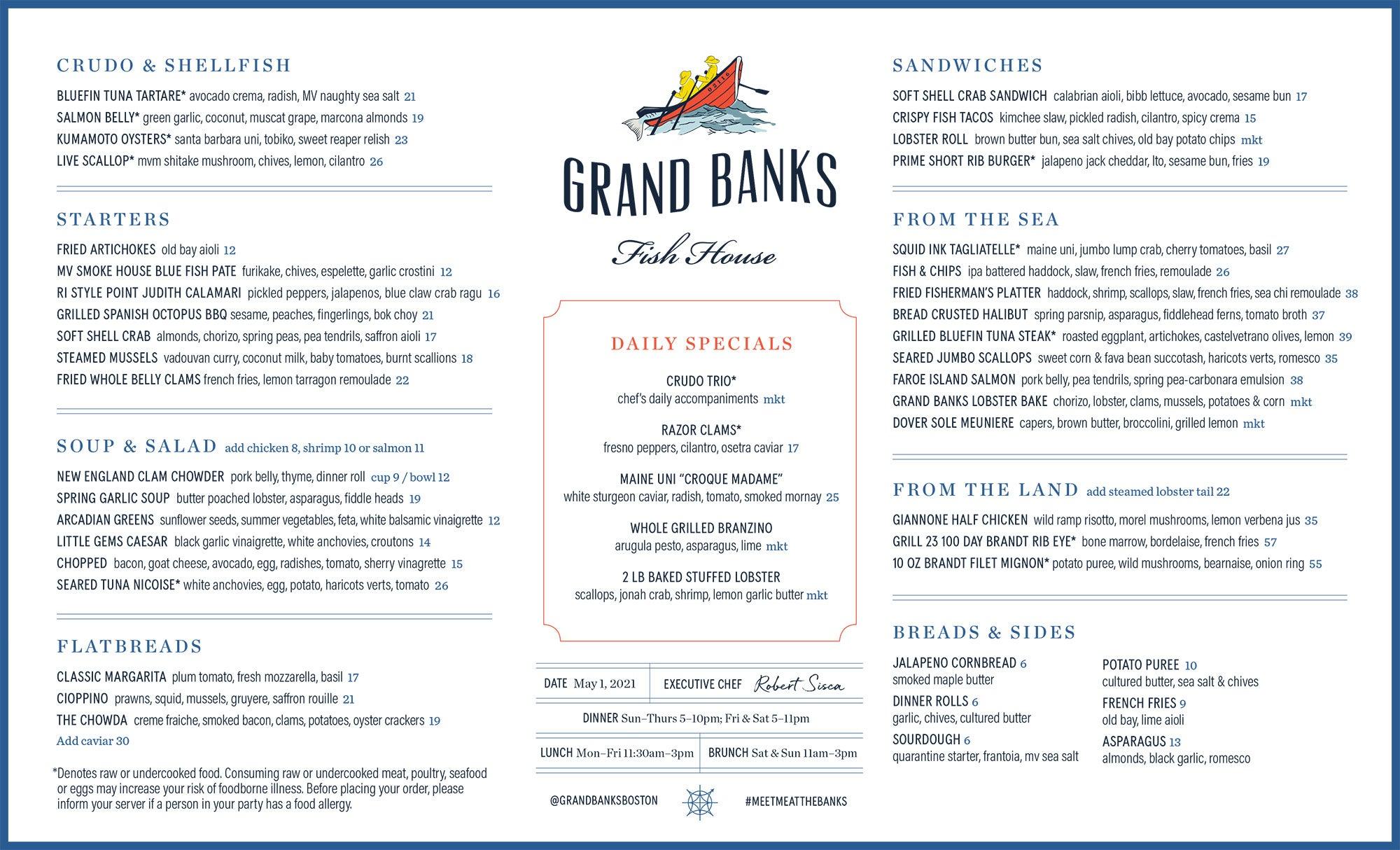 Dinner menu at Grand Banks Fish House