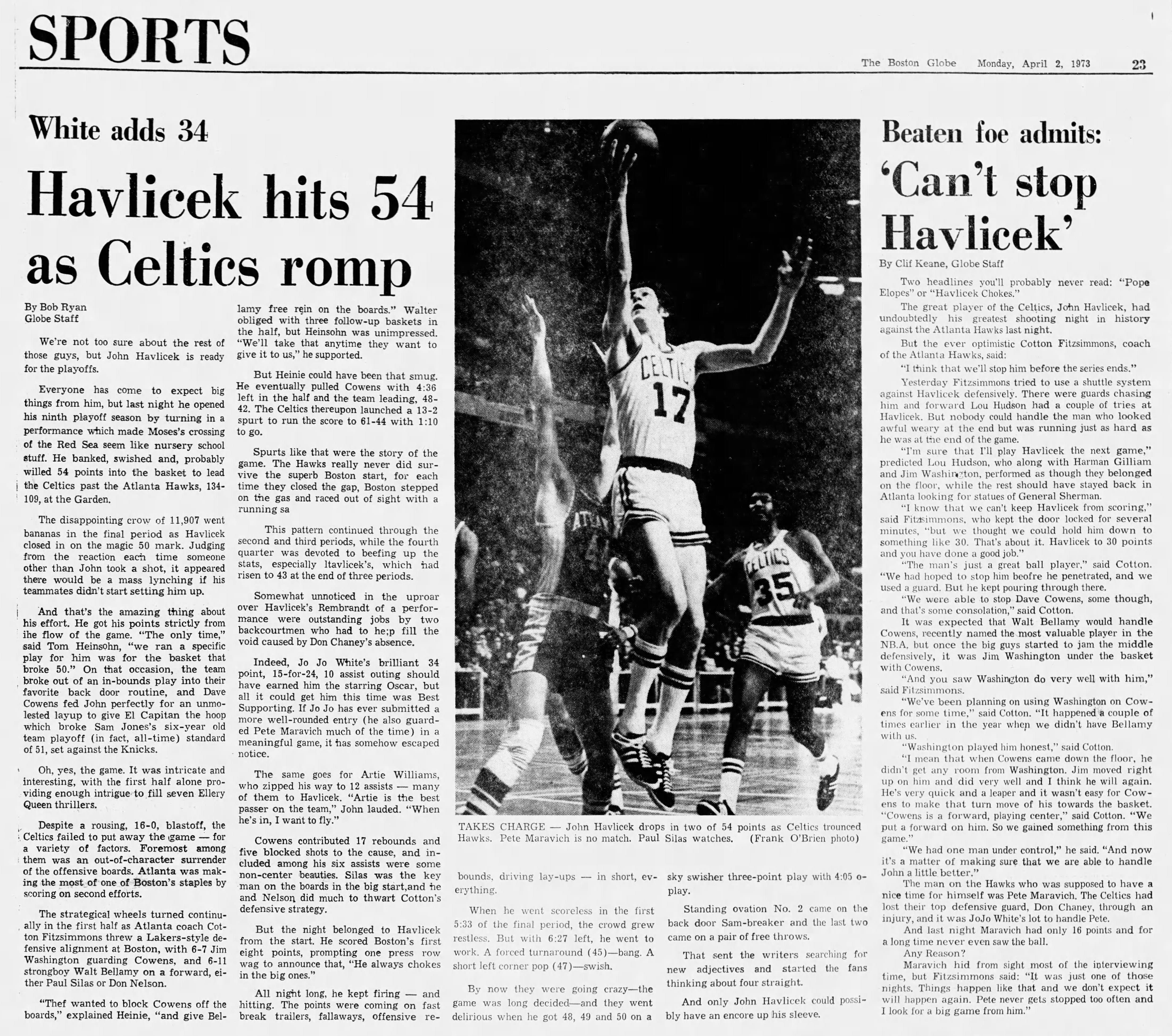 Celtics John Havlicek Boston Globe