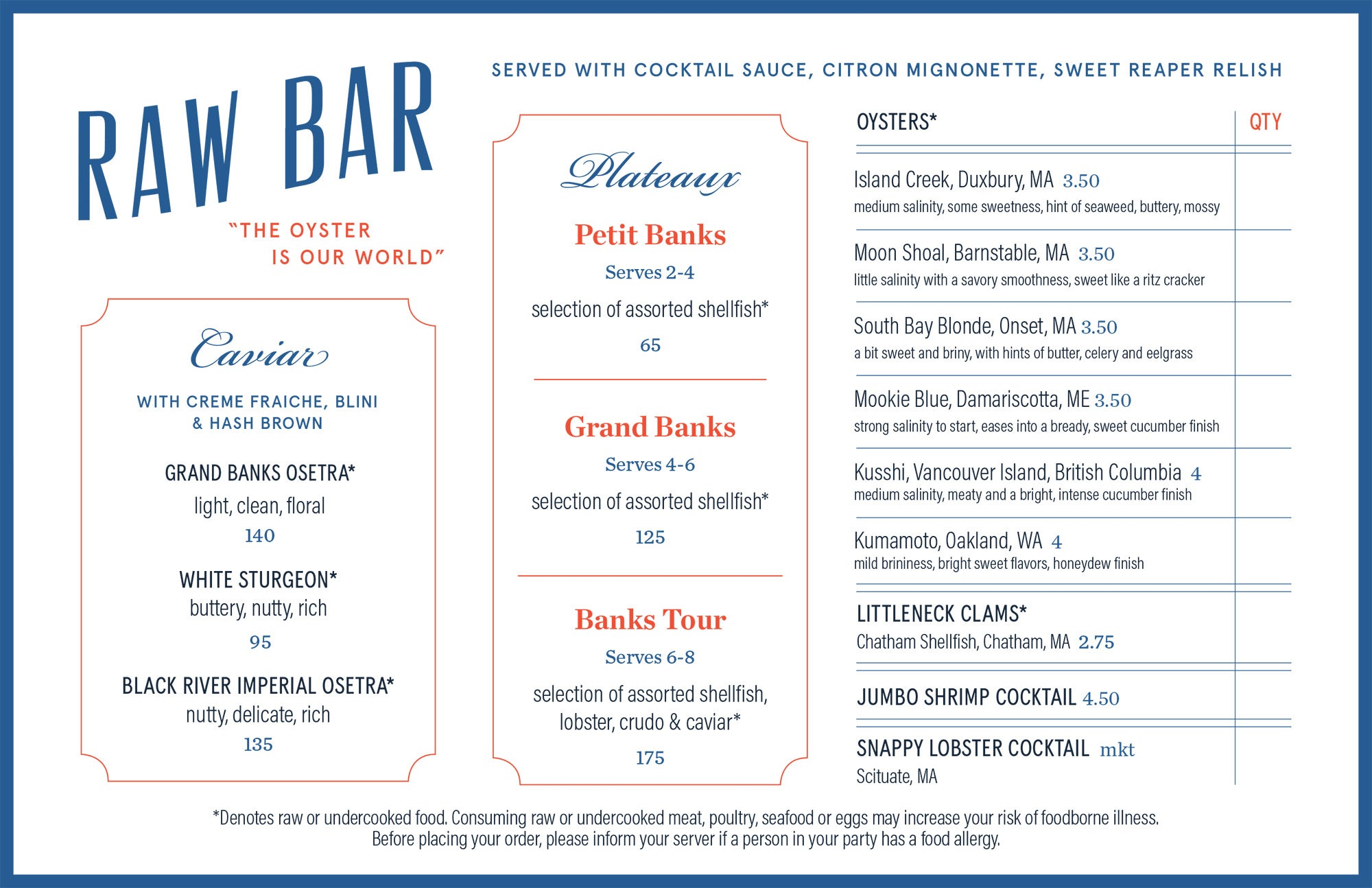 Raw bar menu at Grand Banks Fish House