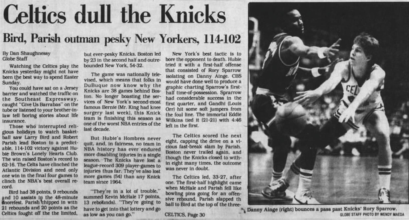 Celtics 1985 Boston Globe