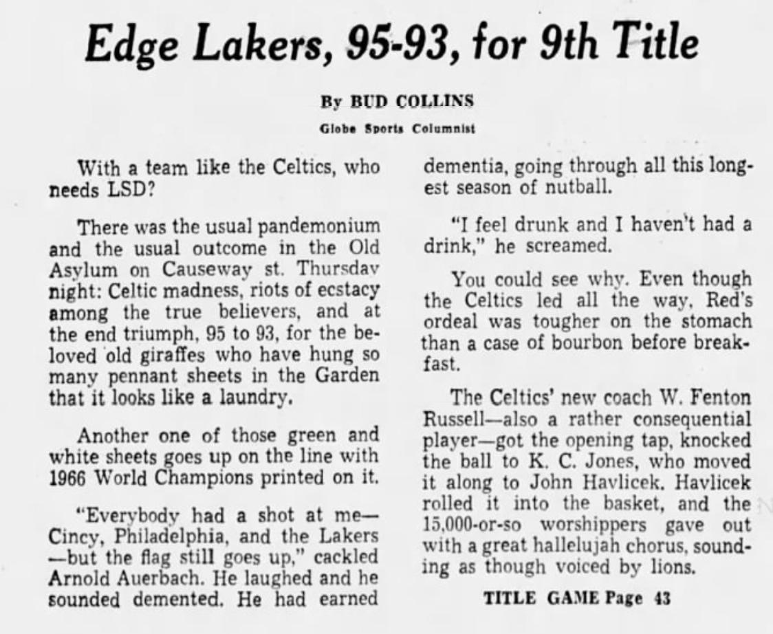 Boston Globe Celtics 1966