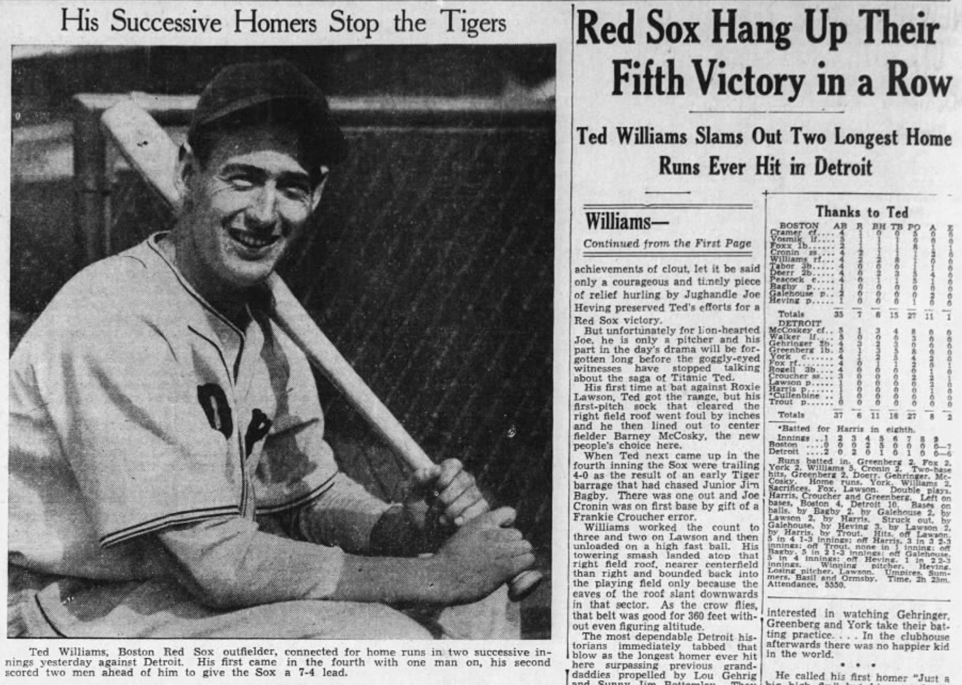 Ted Williams Boston Globe 1939