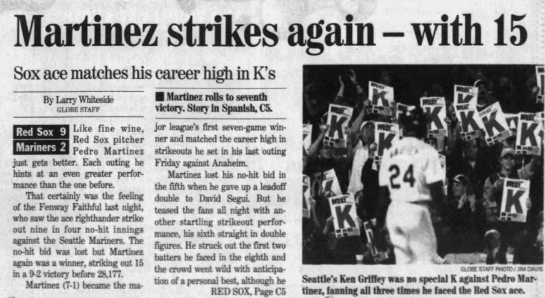 Pedro Martinez Boston Globe