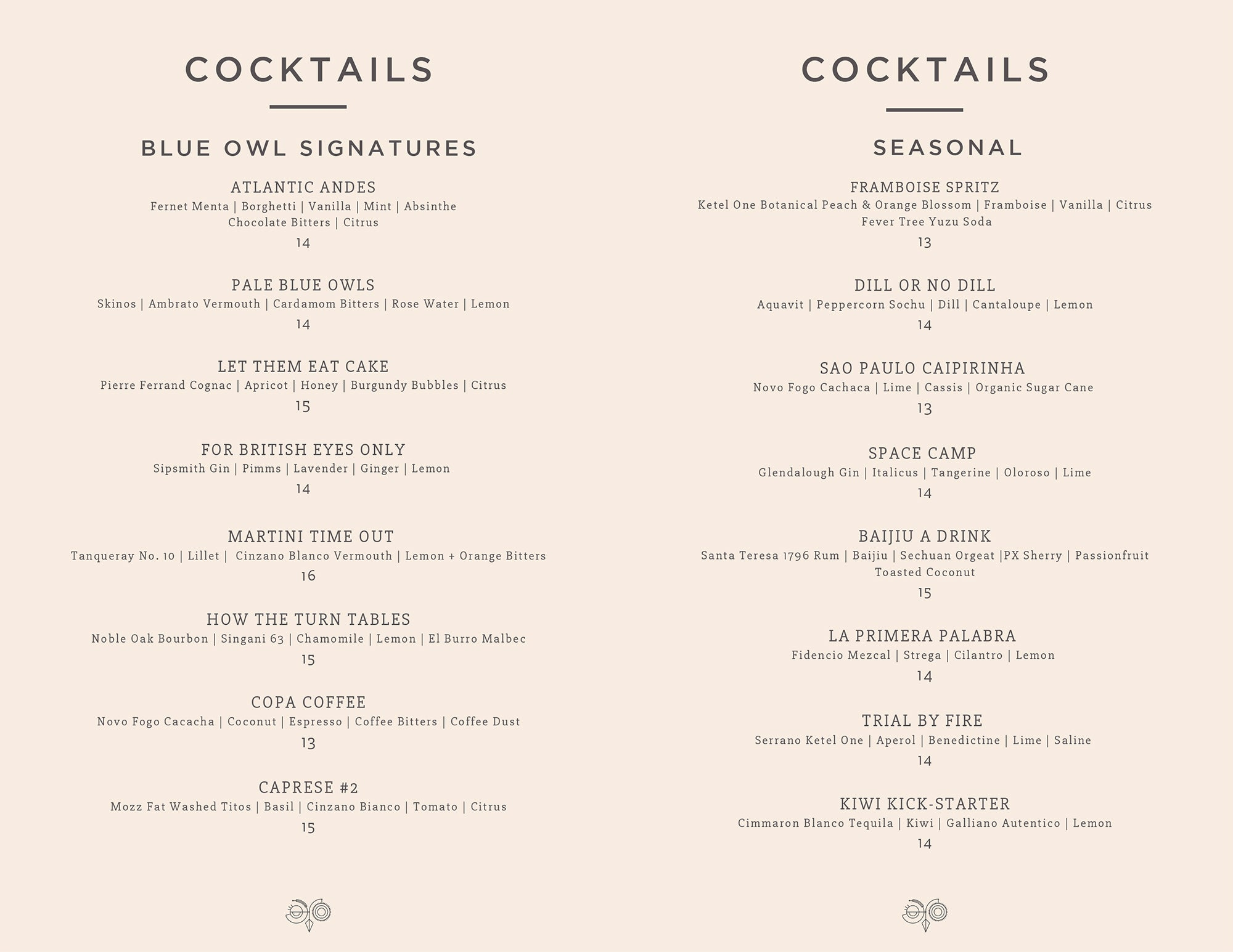 Blue Owl cocktail menu