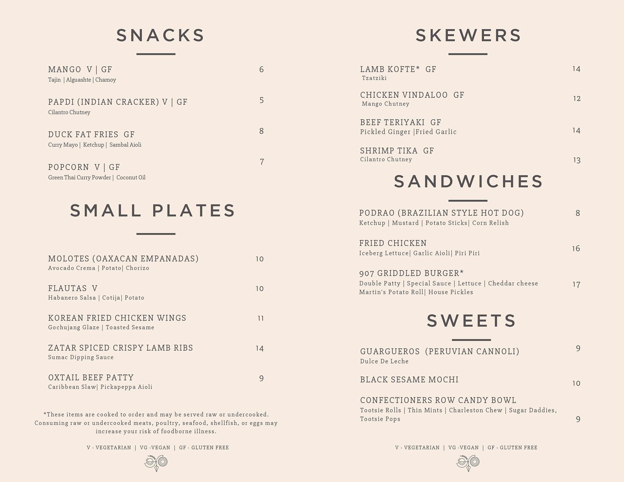 Blue Owl food menu