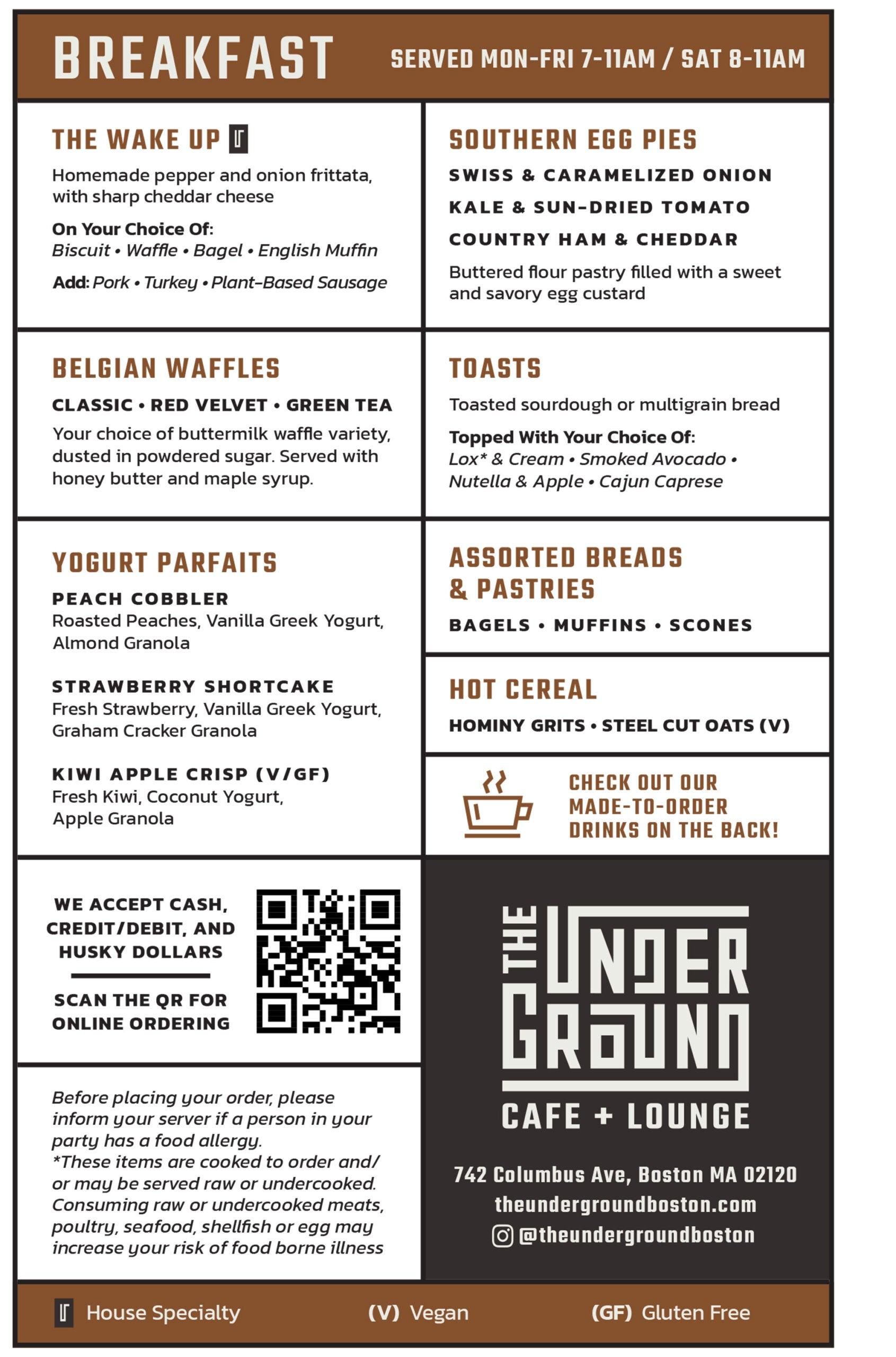 The Underground Cafe + Lounge menu